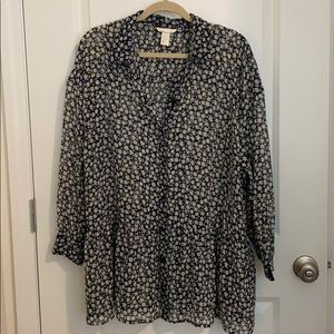 HM Floral Tunic Top Size 14